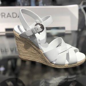 PRADA Espadrille Crisscross Platform Wedge Sandal